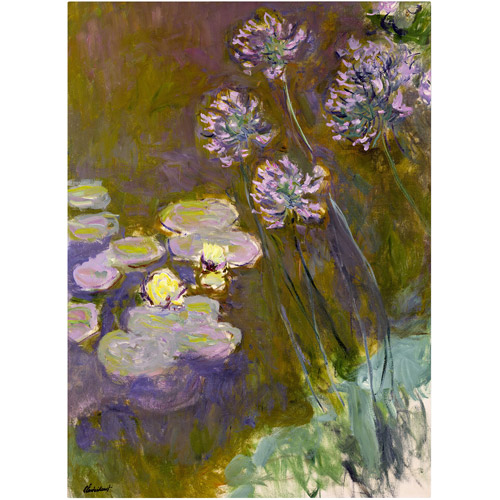 "Trademark Fine Art ""Waterlilies and Agapanthus"" Canvas Art by Claude Monet"