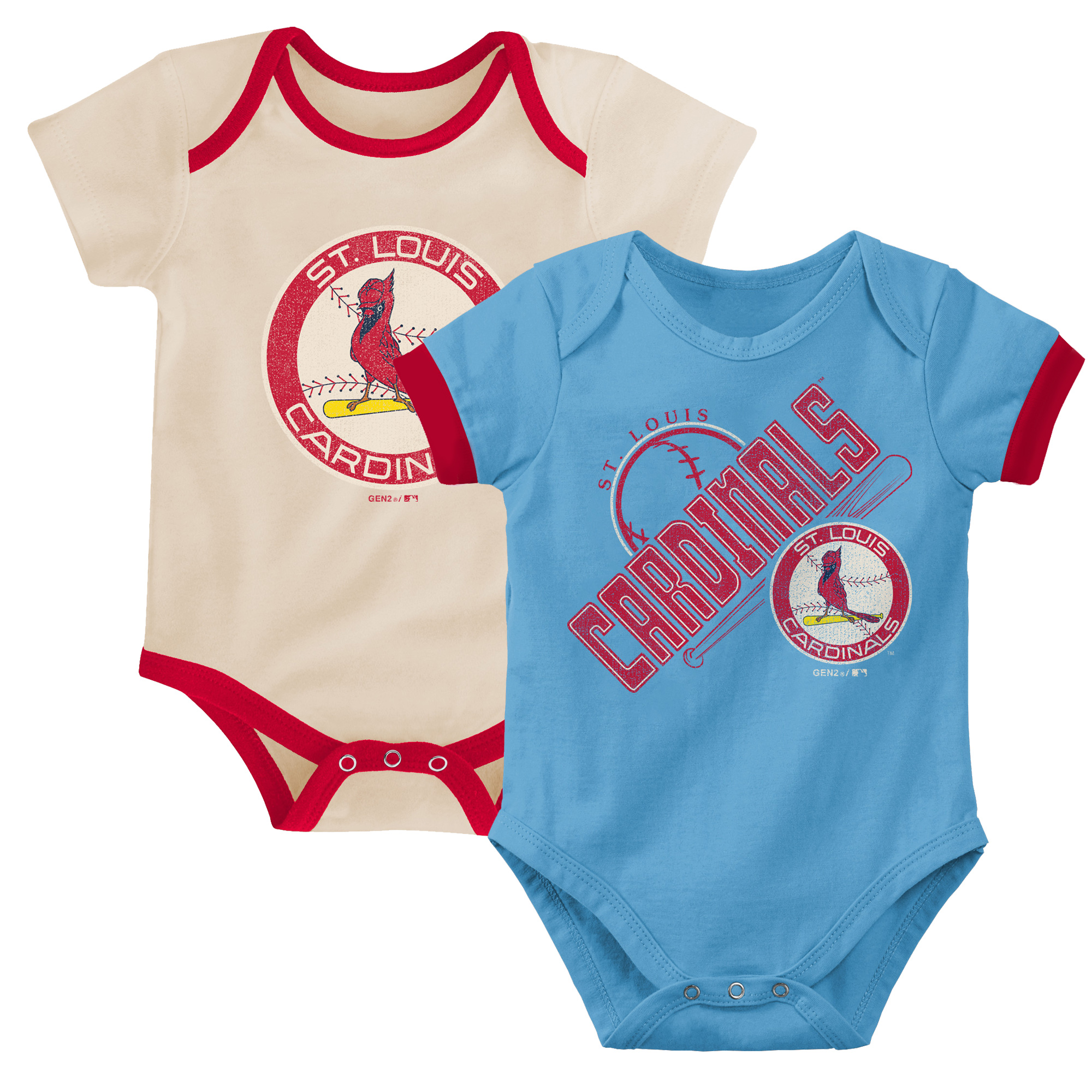 St. Louis Cardinals Infant Cooperstown Collection Groovy Game Two-Pack Bodysuit Set - Light Blue/Tan