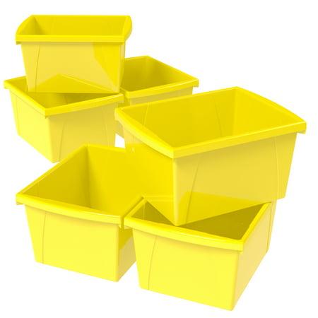 Storex 4 Gallon/15 L Classroom Storage Bin,Yellow (6 units/pack)](Classroom Organization Supplies)