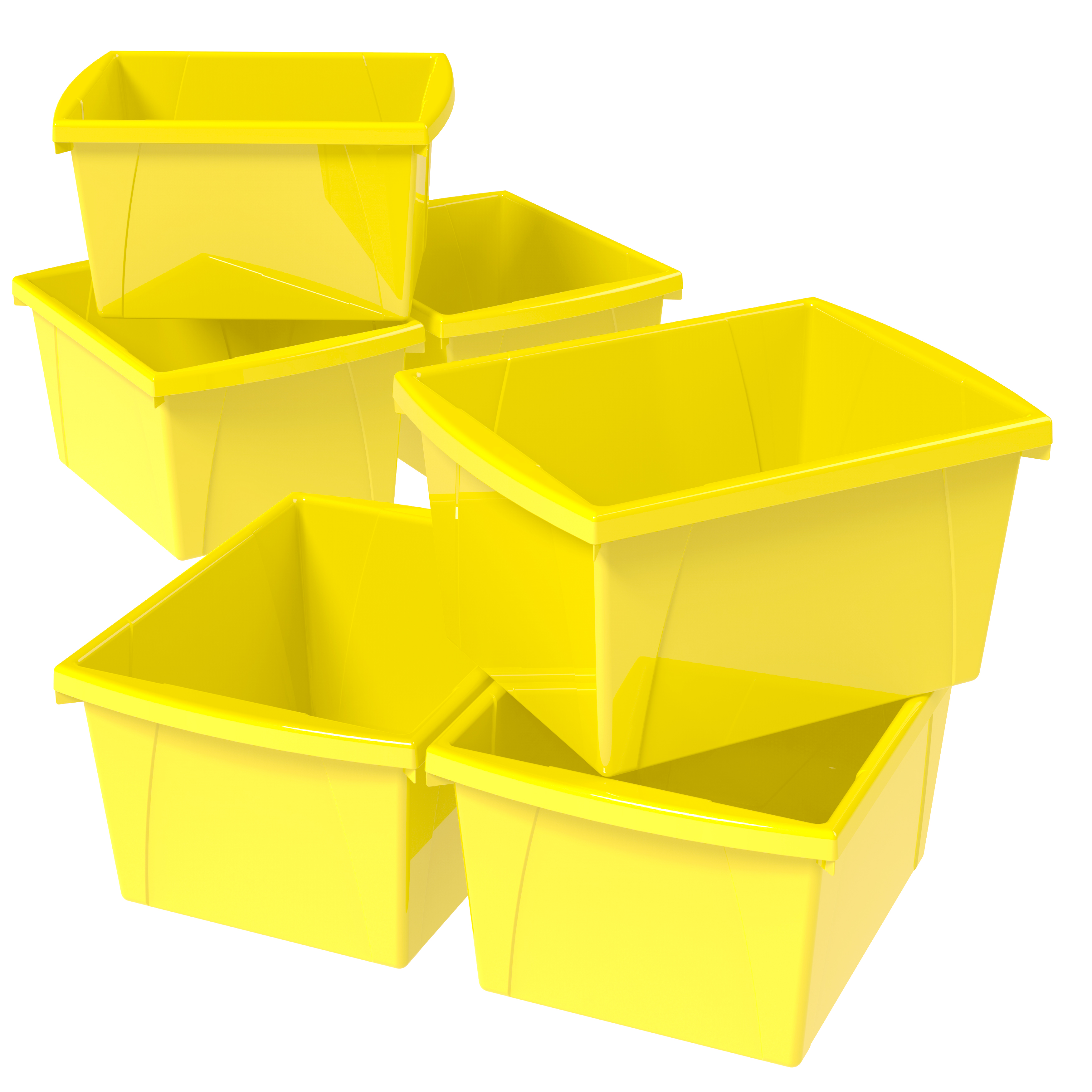 Storex 4 Gallon/15 L Classroom Storage Bin,Yellow (6 units/pack)