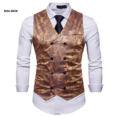 Naked Men In Suits (Mens Double Breasted Suit Vest Slim Fit Business Formal Wedding Dress)
