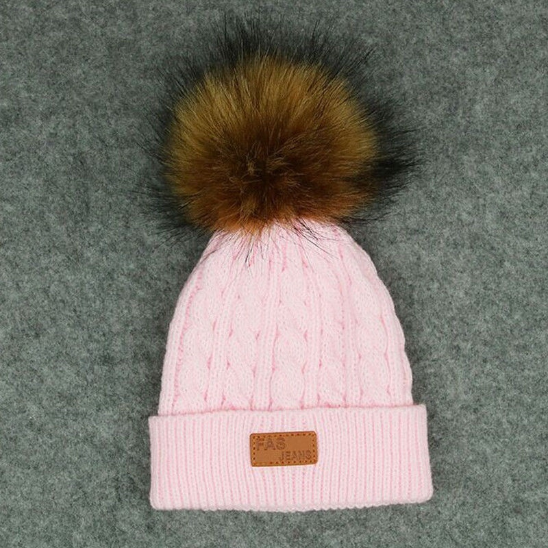 Fashion Kids Baby Braided Baggy Knit Beret Crochet Beanie Ball Wool Ski Hat Cap