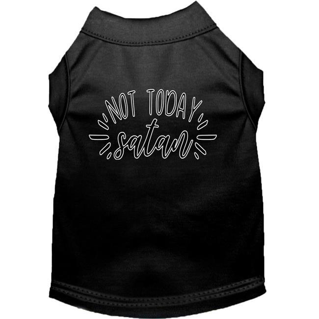 Not Today Satan Screen Print Dog Shirt Black Sm (10)
