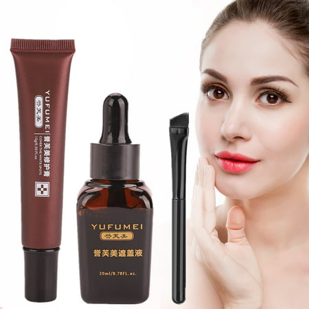 WALFRONT Birthmarks Cover Cream,Professional Makeup Cover Up Liquid Waterproof Kit for Coverage Vitiligo Cover Hiding Spots Birthmarks Concealer