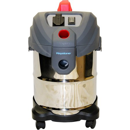 Keystone FI6565-S 6HP Self-Cleaning Indoor/Outdoor Wet/Dry Utility Vac, Stainless Steel