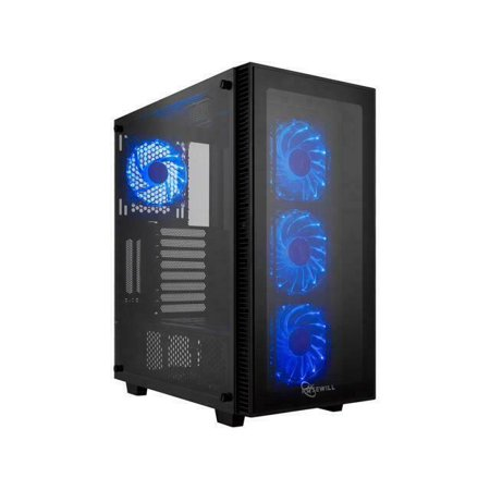Rosewill ATX Mid Tower Gaming PC Computer Case with Blue LED Fans, Tempered