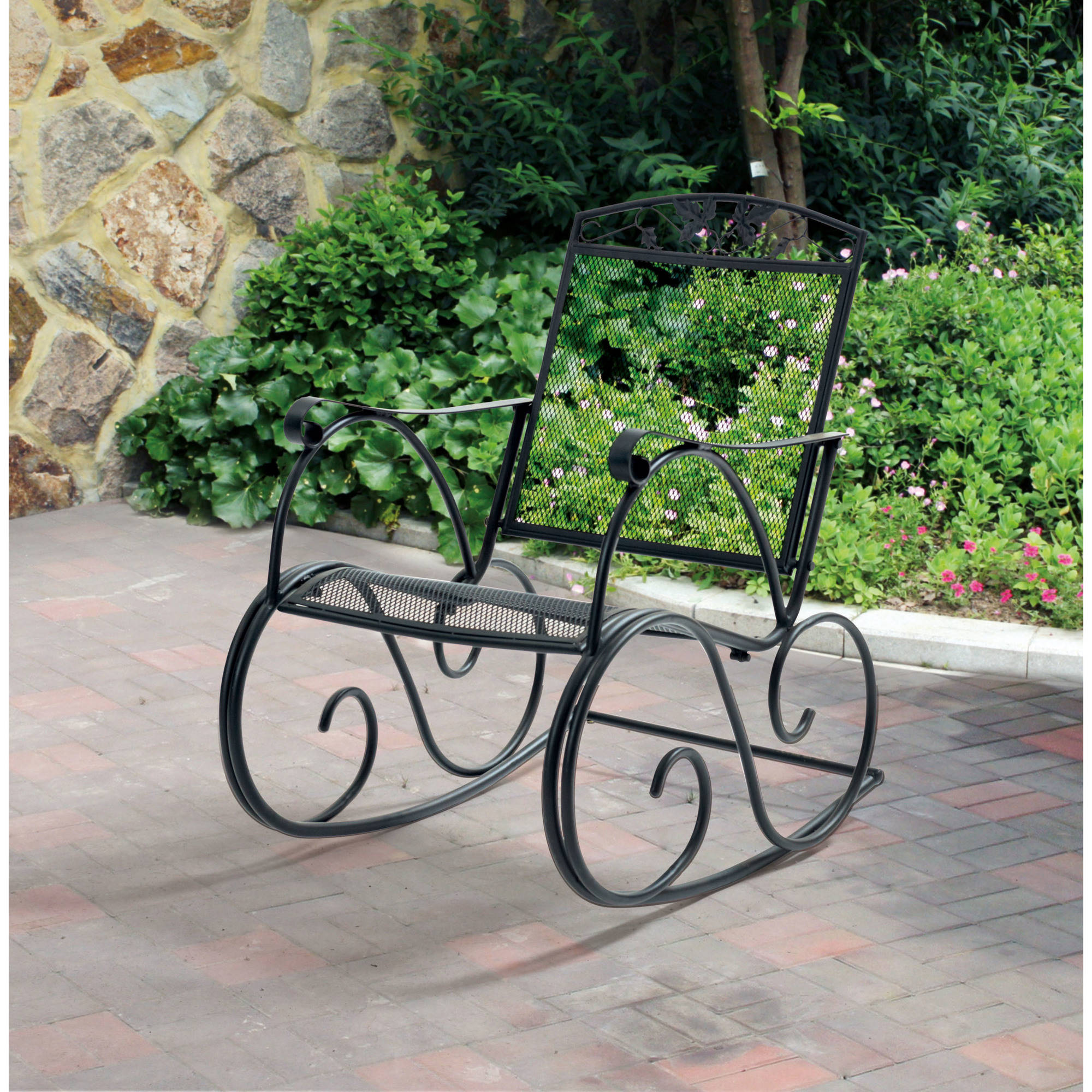 Mainstays Jefferson Outdoor Wrought Iron Porch Rocking Chair   Walmart.com