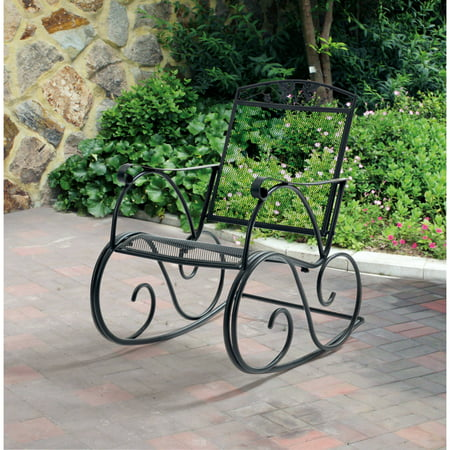 - Mainstays Jefferson Outdoor Wrought Iron Porch Rocking Chair