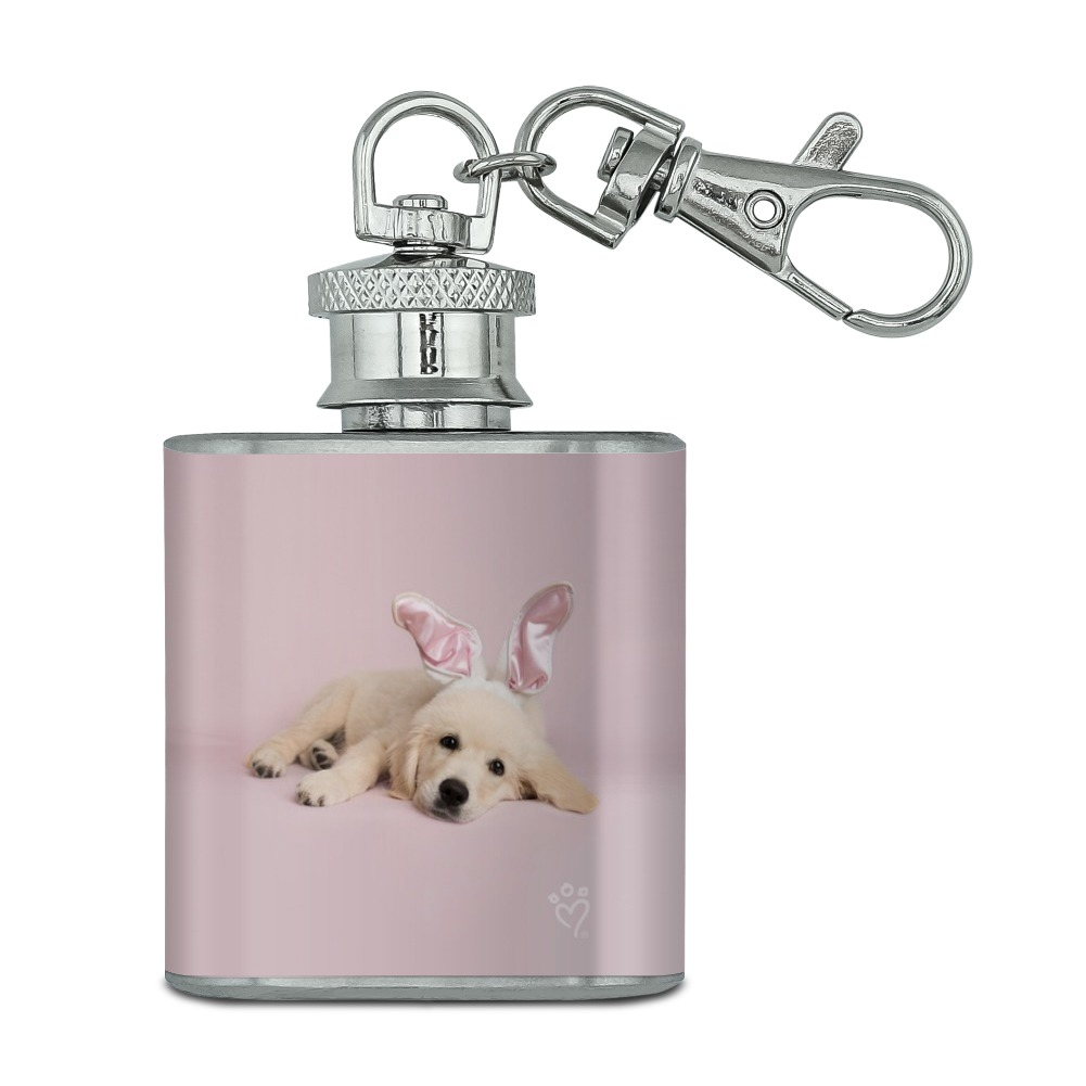 Stainless Steel Mini Flask Groomsman Gift 1 oz Flask Silver Rabbit Flask Bridesmaid Gift Silver Gold Bunny Mini Flask Keychain