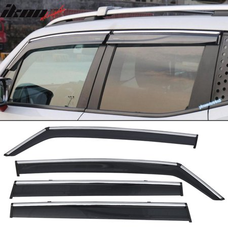 Polycarbonate Trim - Fits 15-17 Jeep Renegade Polycarbonate Window Visors w/ Chrome Trim 4Pc Set