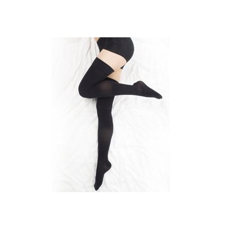 Closed Toe Compression Stocking (BriteLeafs Opaque Compression Stockings Thigh High Firm Support 20-30 mmHg, Closed Toe - Stay-Up Lace Top, Silicone Band- Gradient Compression - X-Large, Black )