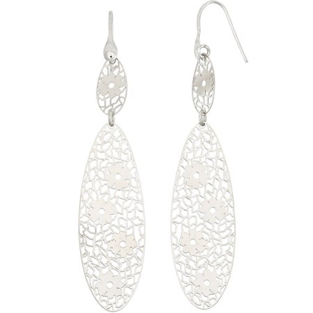 Rhodium-Plated Sterling Silver Flower Cut-Out Dangle Earrings