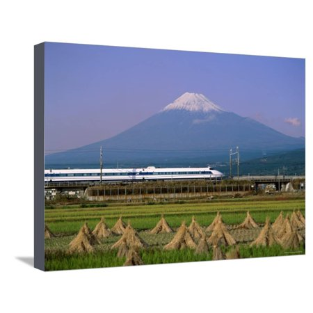 Mount Fuji, Bullet Train and Rice Fields, Fuji, Honshu, Japan Stretched Canvas Print Wall Art By Steve Vidler Bullet Train Mount Fuji Japan