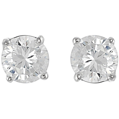 Brinley Co. Round CZ Sterling Silver Stud Earrings, 6mm