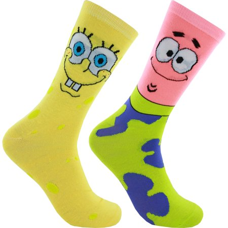 Spongebob Squarepants and Patrick 2 Pack Crew Socks](Spongebob Socks)