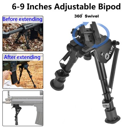 CVLIFE 6-9 inch Rifle Bipod, Adjustable Spring Return + 360 Degree Swivel (Best Inch Bipods)