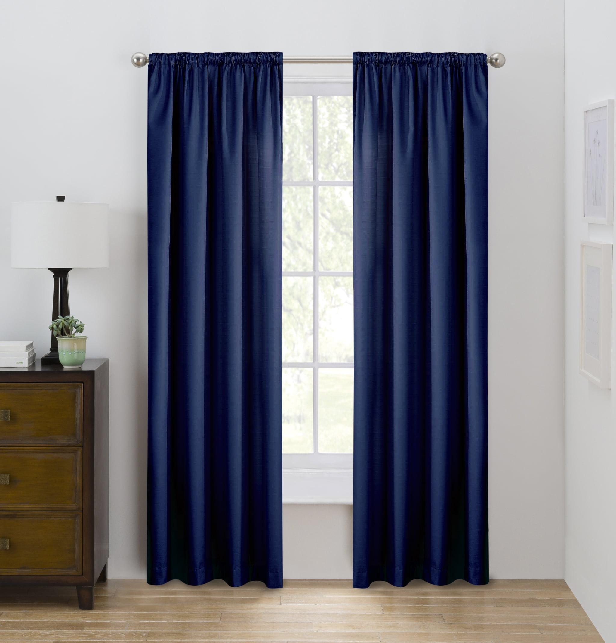 Eclipse Draft Stopper Solid Color Room Darkening Rod Pocket Single Curtain Panel Indigo Sky 42 X 84 Walmart Com Walmart Com