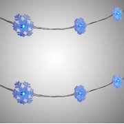"Nantucket Home Mini Blue Snowflake Star LED String Lights 40"" Decoration Pack of 2"