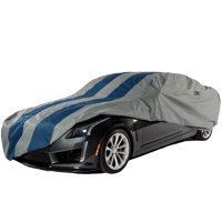 """Duck Covers Rally X Defender Car Cover, Fits 157""""L x 60""""W x 48""""H Sedans up to 13 ft. 1 in. L, Grey/Navy Blue"""