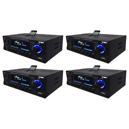 Pyle Pro 300W Home Amplifier Receiver Stereo iPod Dock AM/FM USB/SD (4 Pack)