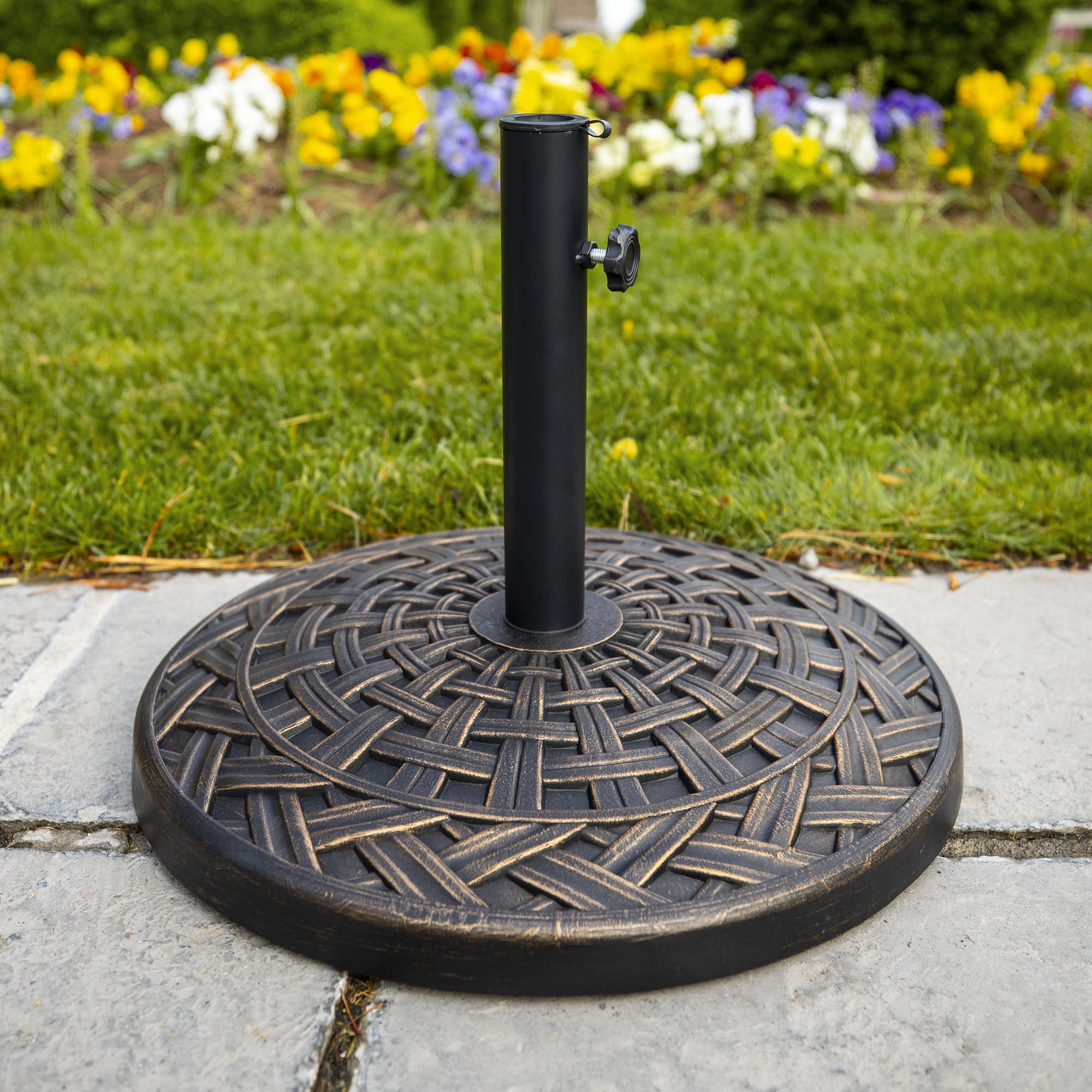 Manor Park Cross Weave Round Outdoor Patio Umbrella Base - Antique Bronze