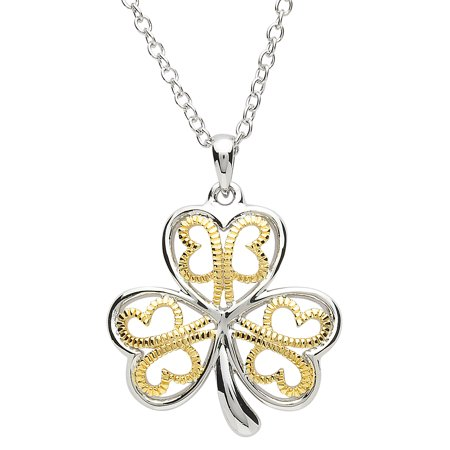 Shanore Women's Platinum and 18k Gold Plated Shamrock Pendant Irish Necklace - 1 1/2
