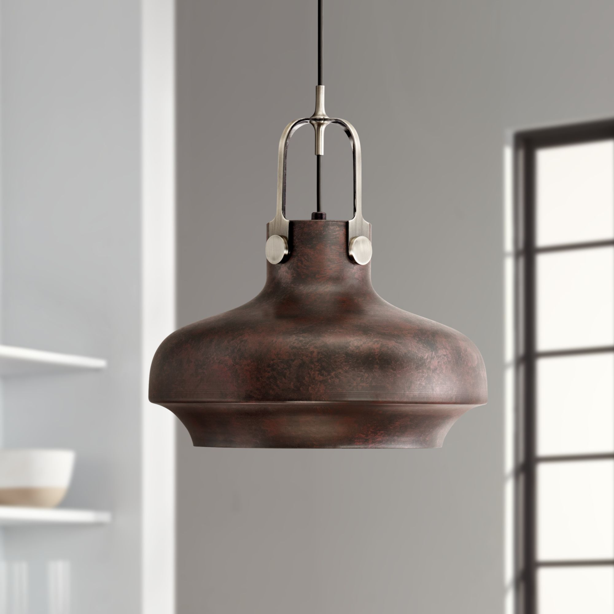 Possini Euro Design Antique Bronze Pendant Light 14 Wide Industrial Rustic Farmhouse Fixture For Kitchen Island Dining Room Walmart Com Walmart Com
