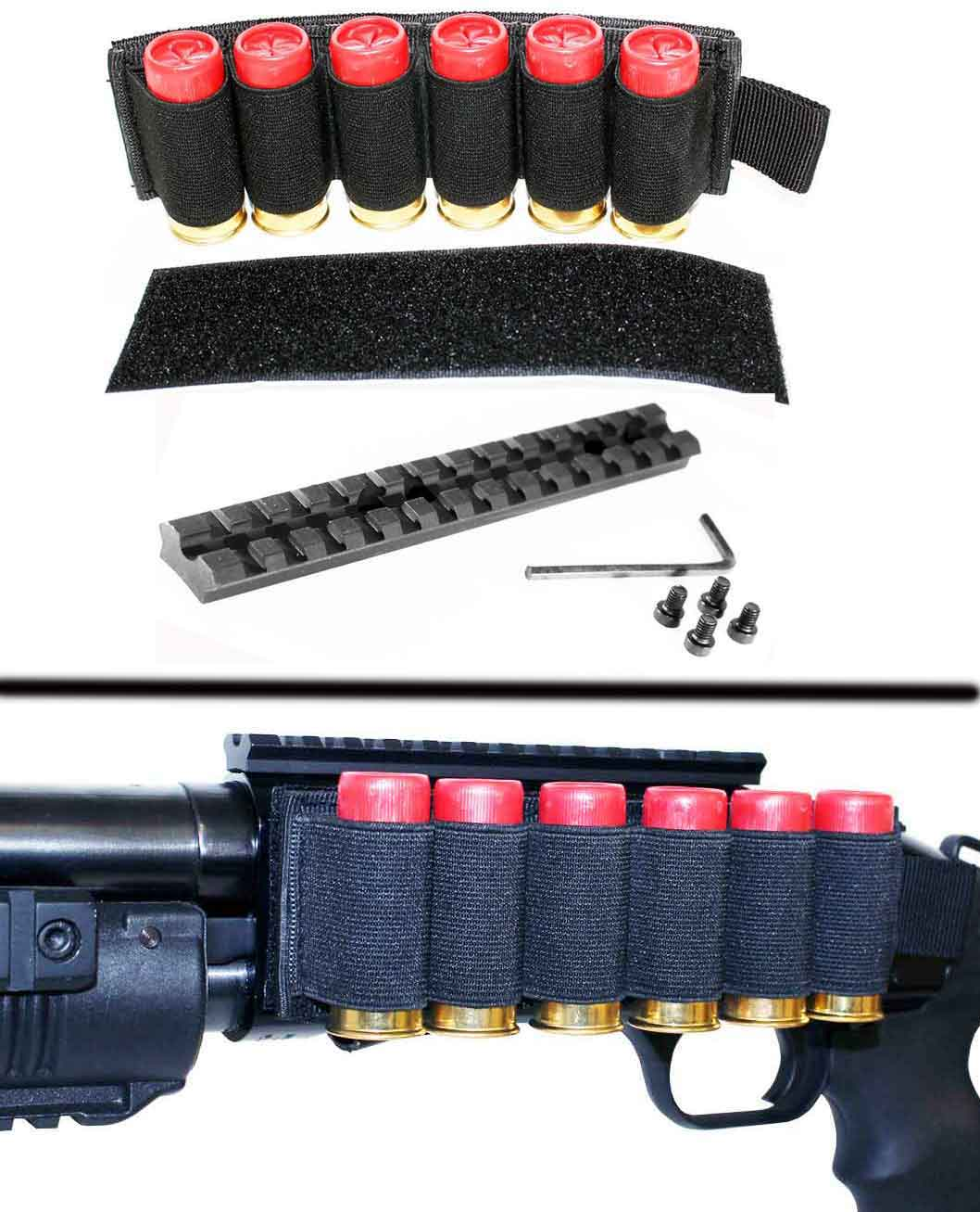 Side Shell Holder and scope rail for Mossberg 500 590, single rail mount. by Trinity