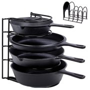 Heavy Duty Pan Organizer, 5 Tier Rack - Holds up to 50 LB - Holds Cast Iron Skillets, Griddles and Shallow Pots - Durable Steel Construction - Space Saving Kitchen Storage - No Assembly Required?