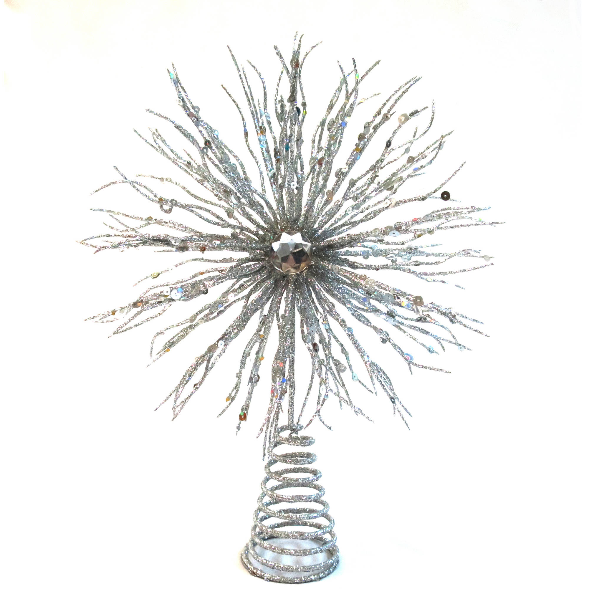 """Holiday Time Christmas Decor 12"""" Glitter Silver Starburst Tree Topper"""