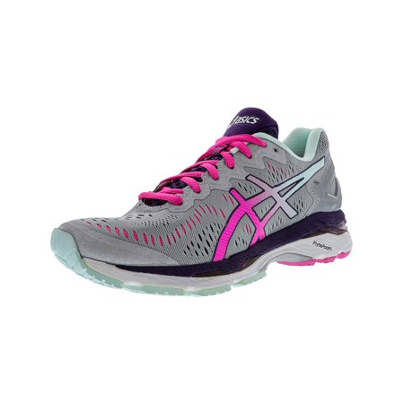 Asics Women's Gel-Kayano 23 Silver / Pink Glow Parachute Purple Ankle-High Running Shoe - (Best Glow In The Dark Sneakers)