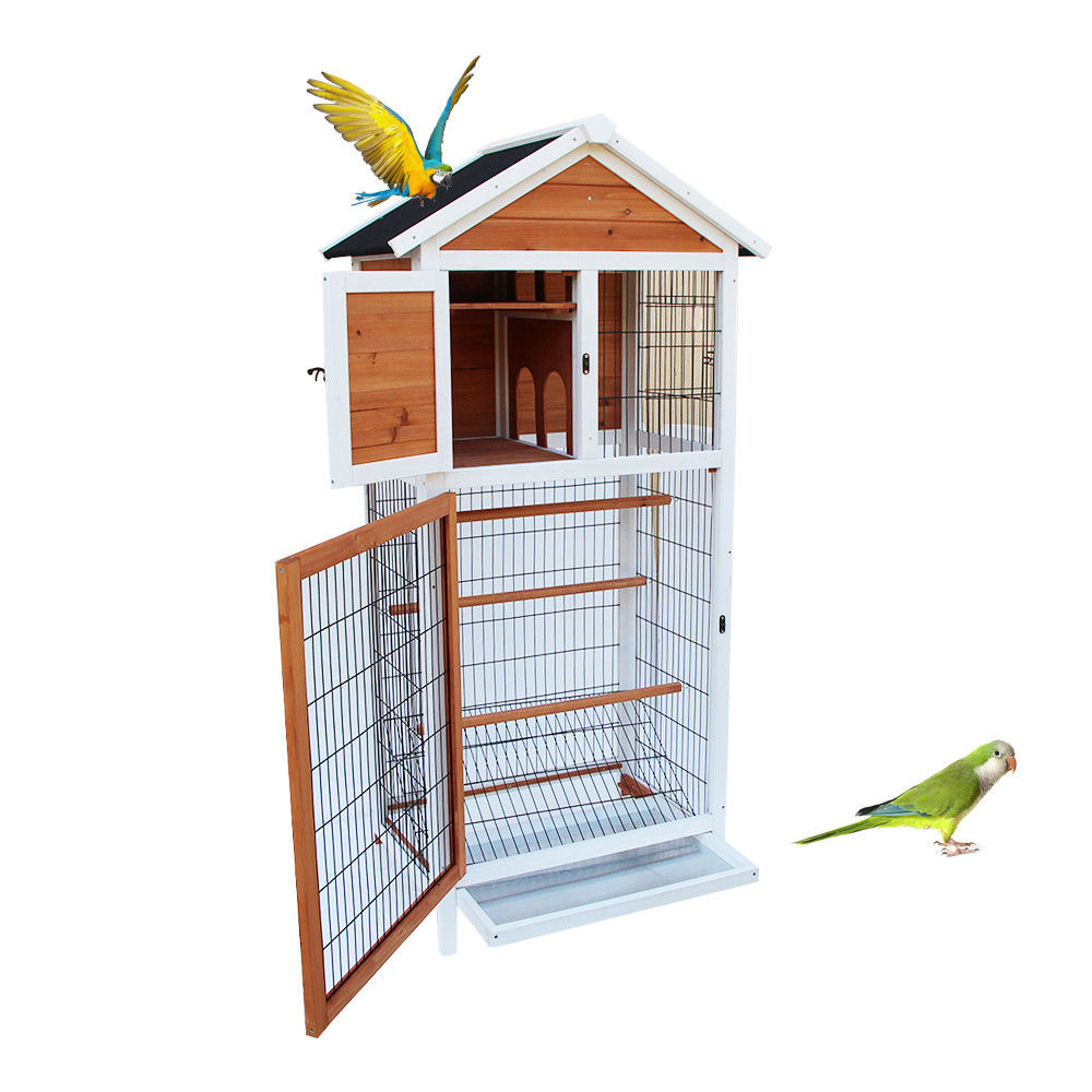 "UBesGoo 21""x30""x64"" Bird Cage Wooden Cockatiel Parakeet Canary Finch Conure Play House"