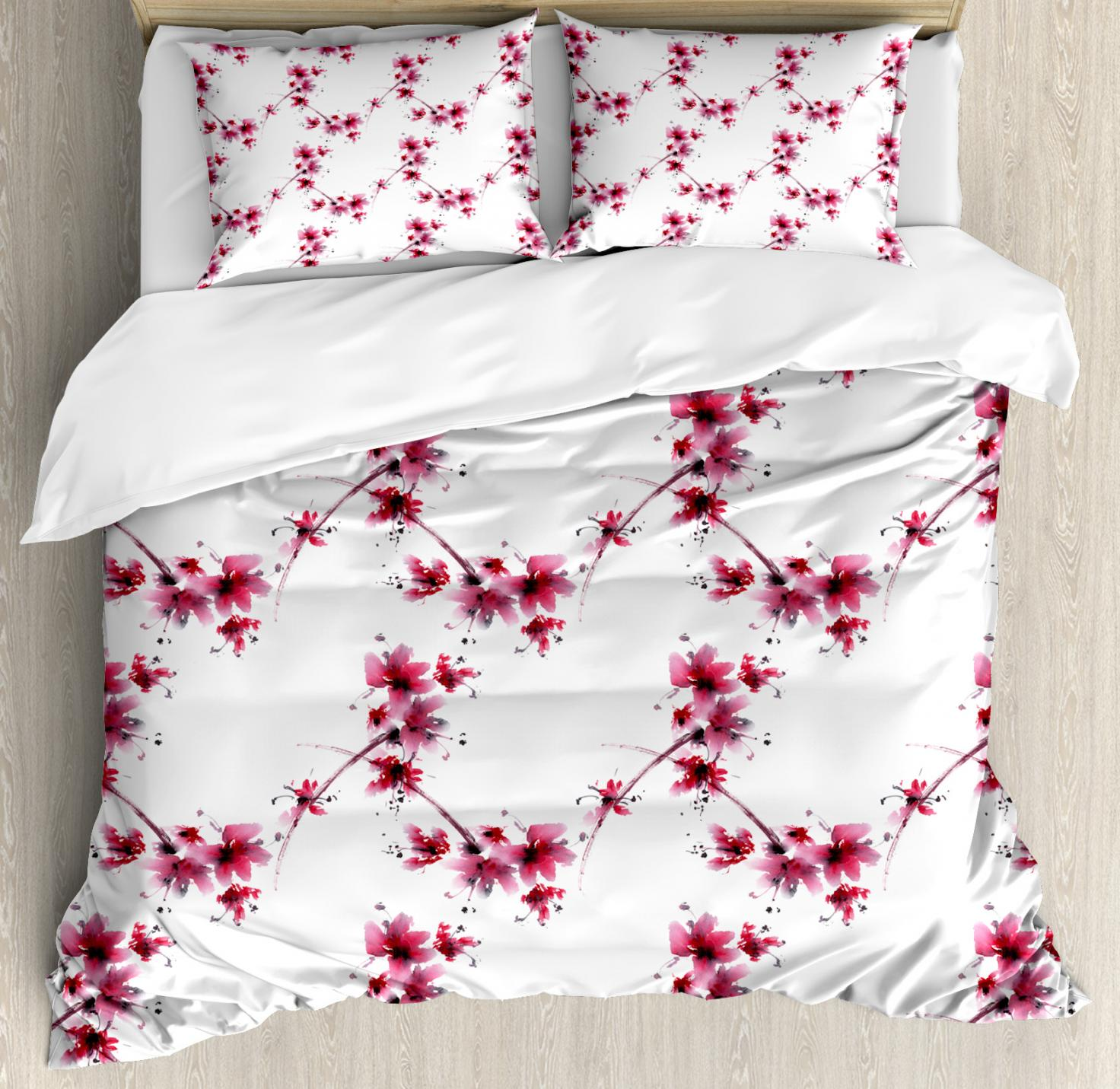 Asian Duvet Cover Set, Watercolors Petal Flower Oriental Ethnic Native  Floral Pattern with Twigs Artful, Decorative Bedding Set with Pillow Shams,  ...