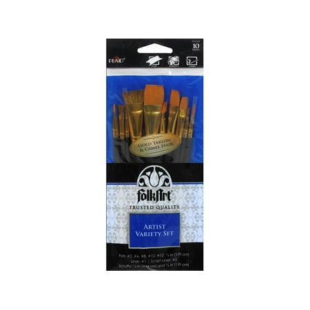 Jumbo Artist Brush - FolkArt Artist Variety Brush Set, 10 Piece