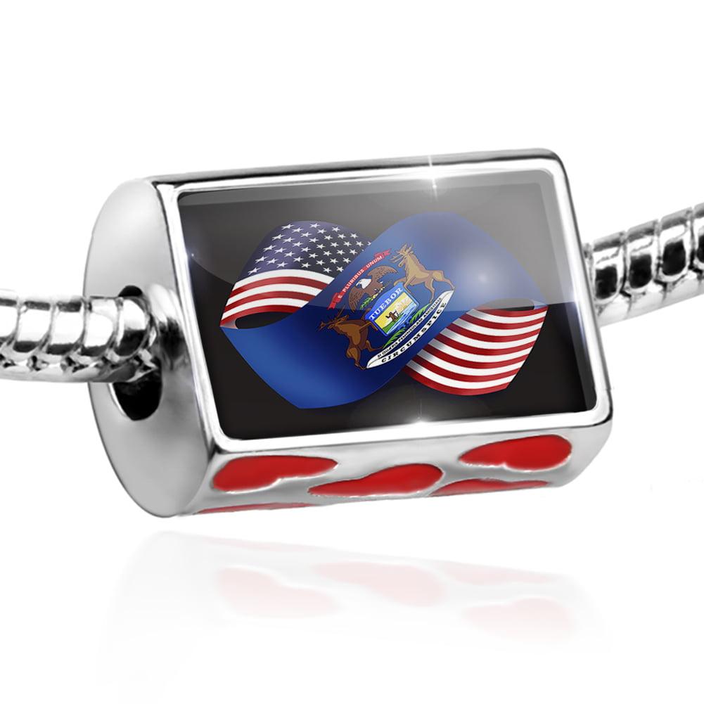 Bead Friendship Flags USA and Michigan region America (USA) Charm Fits All European Bracelets