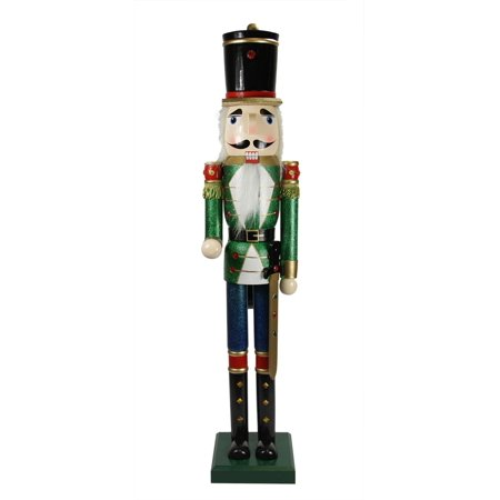 """36"""" Decorative Green and Blue Glittered Wooden Christmas Nutcracker Soldier with Sword"""