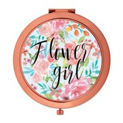 Andaz Press Compact Mirror Flower Girl Wedding Gift, Rose Gold, Tea Party Pink Floral Flowers, 1-Pack