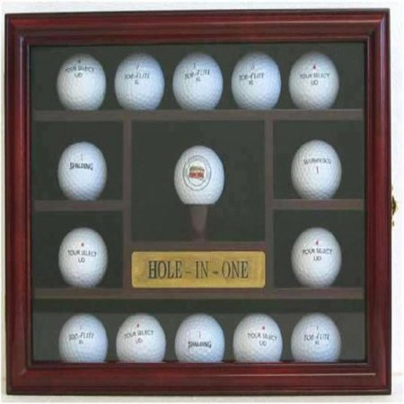 15 Golf Ball Display Case Holder Wall Cabinet, Hole-In-One Plate, Cherry Finish, Novelty Gift (GB04-CH)