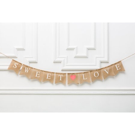 Sweet Love Banner, Bridal Shower, White Letter Burlap Banner, Weddings Banners, Bridal Shower Decoration