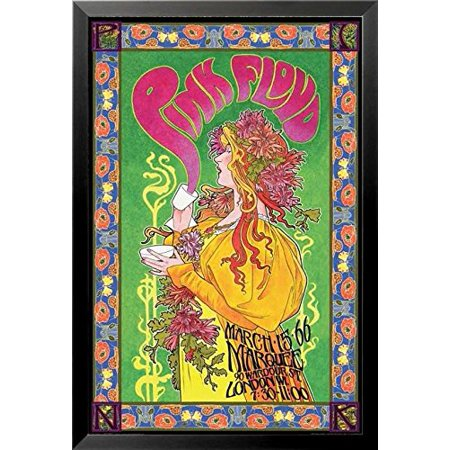 Framed Pink Floyd London March 1966 Marquee Concert By Bob Masse 36X24 Music Art Print Poster