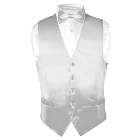 Biagio Men's SILK Dress Vest & Bow Tie Solid SILVER GREY Color BowTie Set