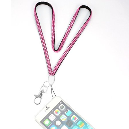 Valor Diamante Neck Lanyard Cellphone Keychain ID Badge Card Holder Strap - Pink - Pink Lanyards