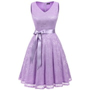 Market In The Box Women Lace Dress Bridesmaid Vintage Floral Swing Dress V Neck Cocktail Party Dress