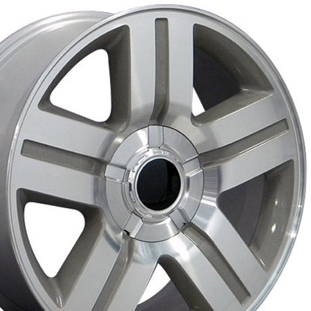 20x8.5 Wheel Fits GM Trucks & SUVs - 6 lug Chevy Texas Style Silver Rim with Machined Face, Hollander