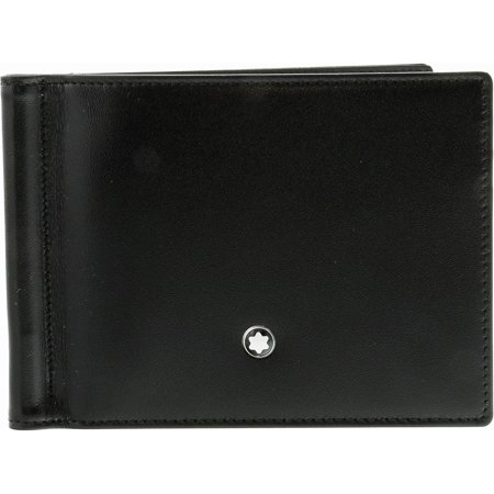 Black Money Clip - Montblanc Men's Meisterstuck 6 Cc With Money Clip Leather Wallet - Black