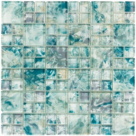 MTO0112 Modular Blue Gray Yellow Turquoise Glossy Translucent Glass Mosaic Tile