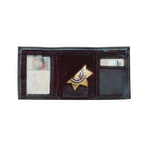 "Image of Desantis A53BJZZZ0 Black A53 Leather Trifold Badge ID Wallet 3 1 2"" x 5"""