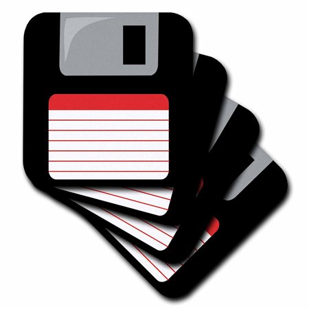 3dRose Retro 90s computer black floppy disk graphic design with red label - 1990s - ninties computer tech, Soft Coasters, set of 4