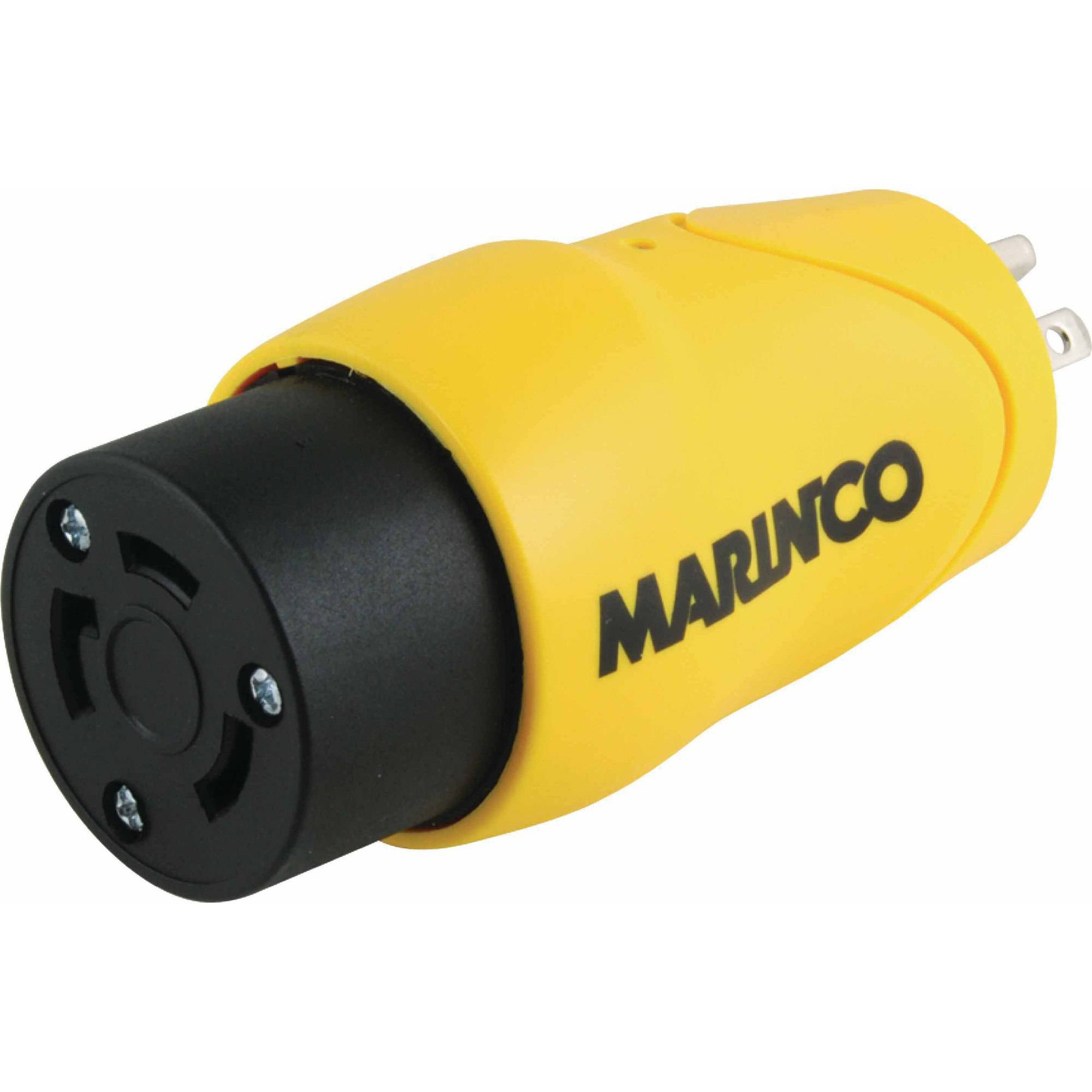 Marinco S15-30 (Old 83A) Straight Adapter Dock Side Male 15A/125V Straight Blade to Boat Side Female 30A/125V Locking