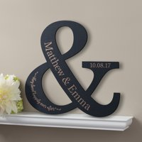Personalized Happy Couple Black Wood Plaque